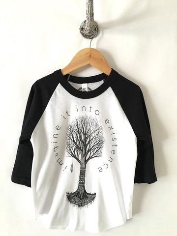 iiixkids Apotropaic fall Tree Print - kids black and white american apparel raglan
