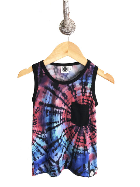 iiixkids - Cosmic Tank - blue and pink tie dye