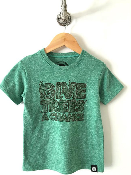 iiixkids Give Trees a Chance - Organic Green kids Tshirt