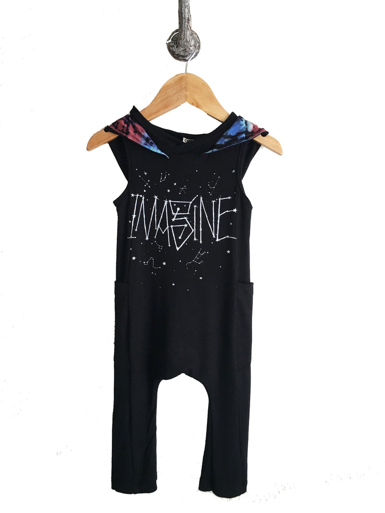 iiixkids imagine cosmic hooded tank top romper - black