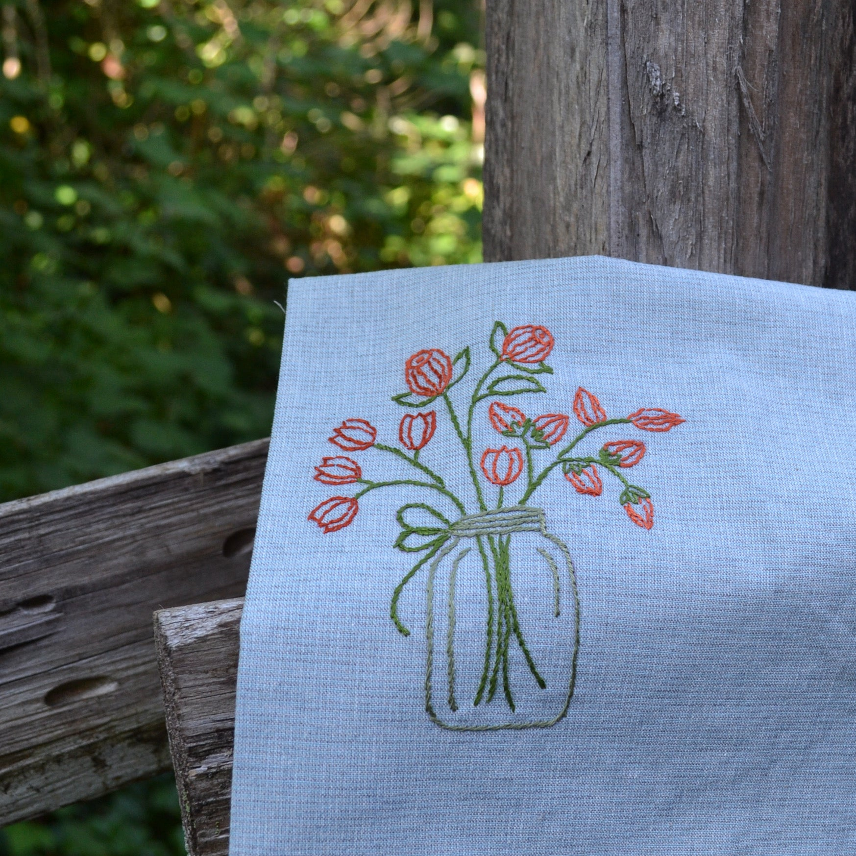 Hand stitching kitchen towel blanks