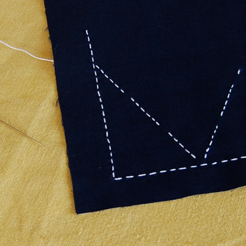 showing right side of sashiko stitched fabric