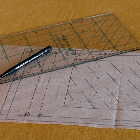 trace your sashiko design on to fusible featherweight interfacing