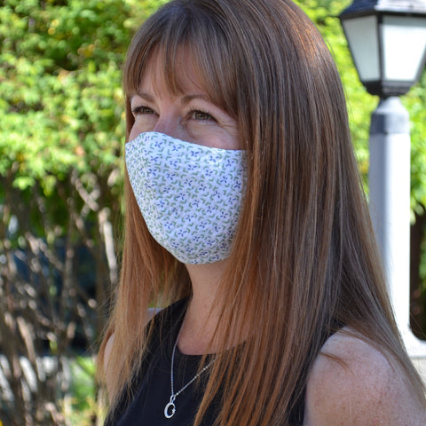 Hitomezashi stitched CoVid face mask