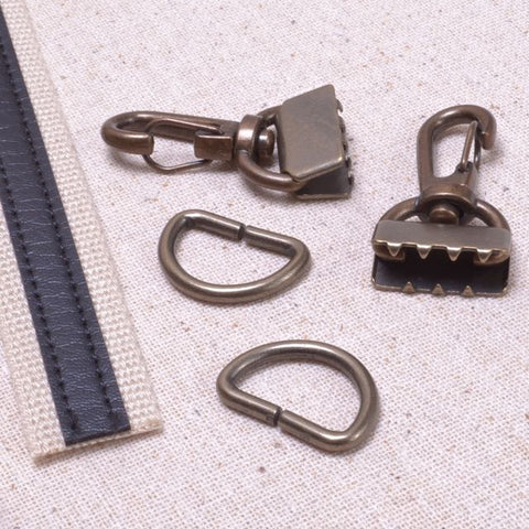 swivel clip hardware with clamp end for bag straps