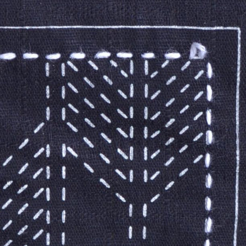 sashiko stitching, leave some slack in your thread when turning a corner