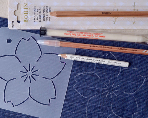 sashiko stencil and chalk fabric pencils