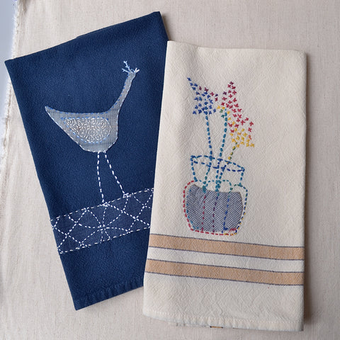 Zakka style sewing on kitchen towels