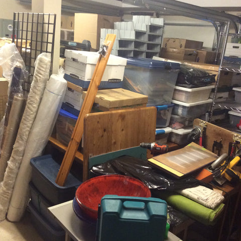 Moving day boxes in the new stock room to be