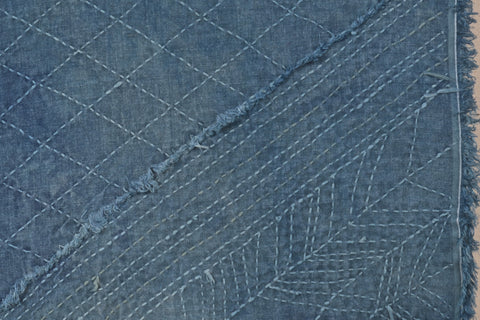 sashiko stitched linen over dyed with indigo