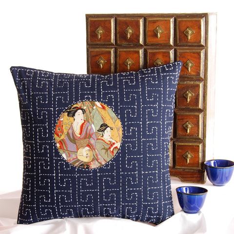 sayagata sashiko design cushion