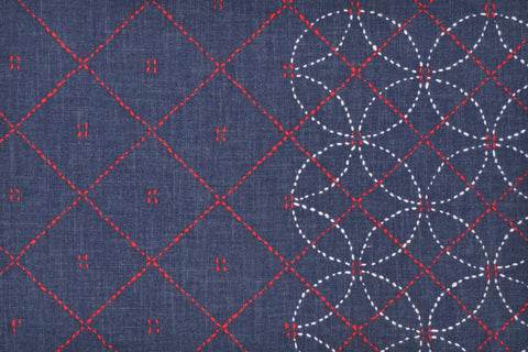 Linked Circles Sashiko Design, Partial Stitching