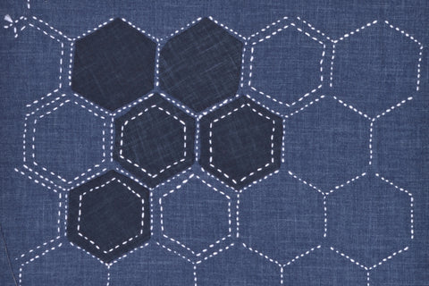 sashiko hexagons pre printed fabric