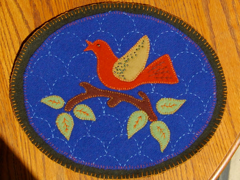 sashiko stitching Wool Oval Bird Mat