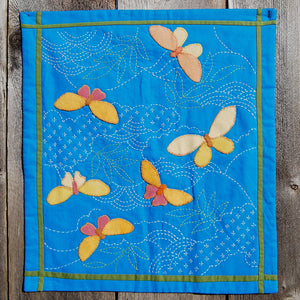 Sample Made From Pattern, Using Wool For Butterfly Applique and Two Colors Sashiko Stitching