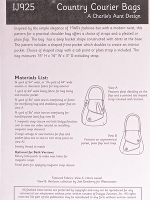 Country Courier Bag Pattern Material List