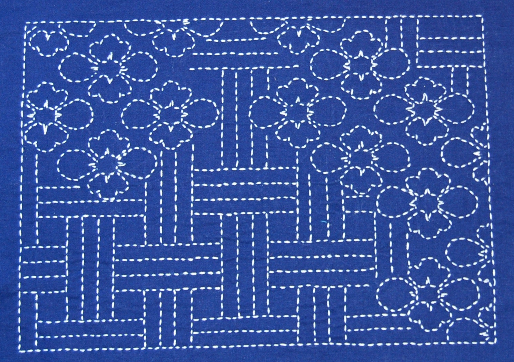 digital sashiko pattern lotus design