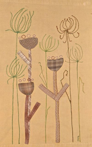 tea towel with fabric pen, applique and stitching