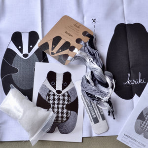 Embroidery Kit, Badger Stuffie by Kiriki Press