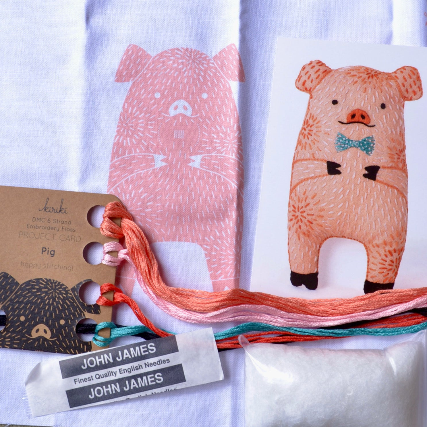 Embroidery Kit, Kiriki Press, Pink Pig