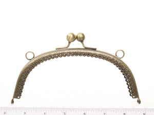 "6 1/2"" metal clasp purse frame sew in style with loops for chain"