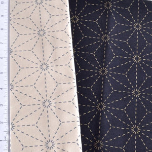 sashiko preprinted ready to stitch hemp leaf fabric