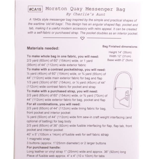Morston Quay Messenger Bag Pattern - A Threaded Needle