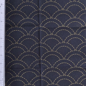 sashiko waves design preprinted fabric
