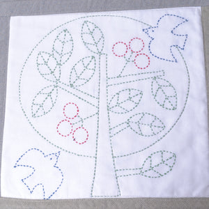 Sashiko Kit, Tree with Birds & Fruit