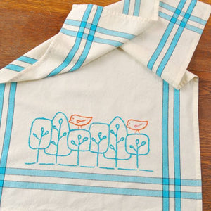 kitchen towel blank with stencil and embroidery