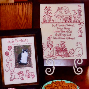Redwork Embroidery Pattern, Cat's Purrfect World