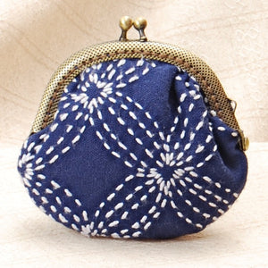 Sashiko Stitching with clasp purse frame