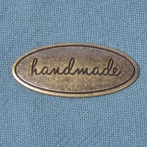 oval antique brass metal handmade label for home sewing