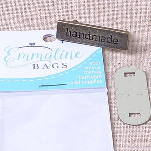 "Emmaline metal ""Handmade"" label for home sewing"