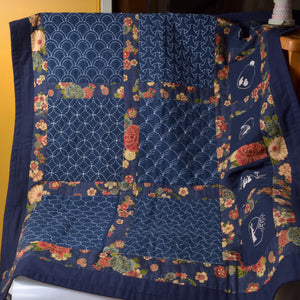 quilt with sashiko preprinted sampler blocks