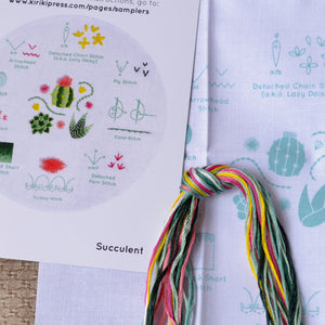 Succulent embroidery design kit