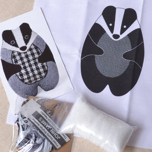 Embroidery kit, Badger stuffie