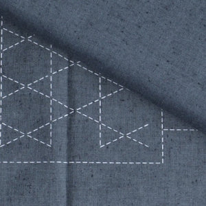 sashiko preprinted light blue tsumugi fabric