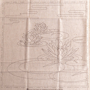 sashiko waterlily pre printed fabric