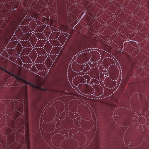 red sashiko panel