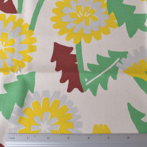 Vibrant Dandelions on Cotton Fabric