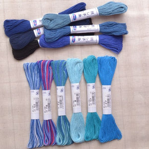 boro sashiko big stitch quilting thread blue
