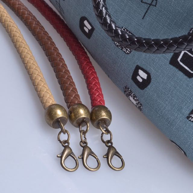 braided leather bag or purse handle straps