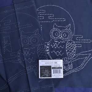 sashiko owl ready to stitch fabric