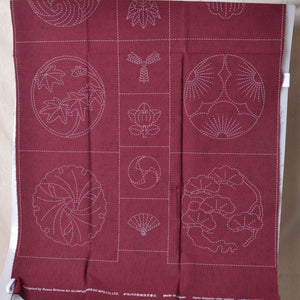 Tsumugi fabric with sashiko stencilled  preprinted family crest