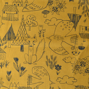 Foxes,  Birds, Trees, Houses & Hedgehogs on Cotton/Linen Fabric