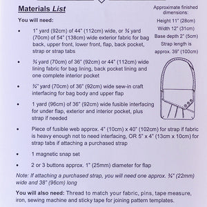 Materials list for Reepham Messenger Bag