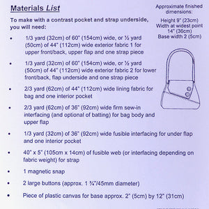materials list for Sedgeford Bag Pattern