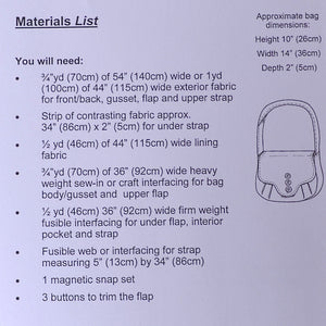 Materials list for Weybourne bag pattern