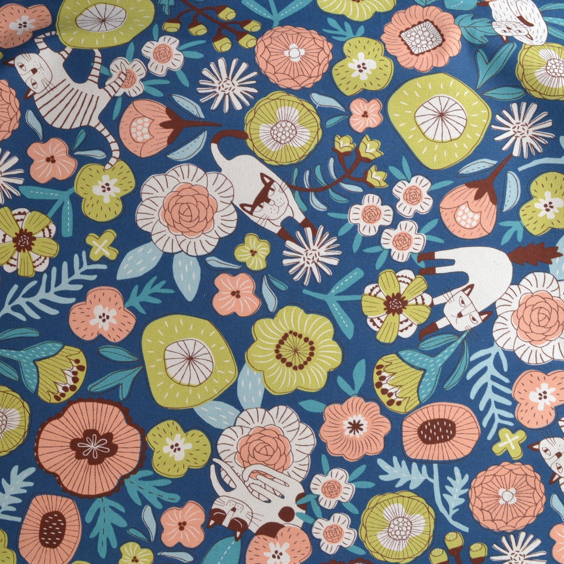 Stylised Cats & Flowers on Cotton Fabric
